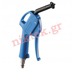 Blow gun with protective air curtain - fitted with plug
