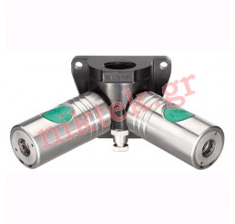 Female threaded two port wall bracket - 2 couplings and drain - European High Flow Profile - ID passage 10,4 mm G 3/4 F ESI 11