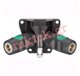 Female threaded one port wall bracket - 1 coupling and drain - European High Flow Profile - ID passage 7.4 mm G 1/2
